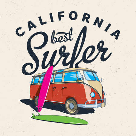 Illustration for California Best Surfer Poster with bus and board on effective background vector illustration - Royalty Free Image