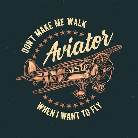 Ilustración de T-shirt or poster design with illustration of vintage airplane - Imagen libre de derechos