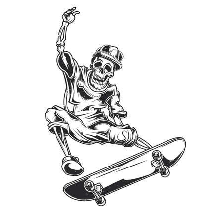Illustration pour Vector illustration of skeleton on skate board. - image libre de droit