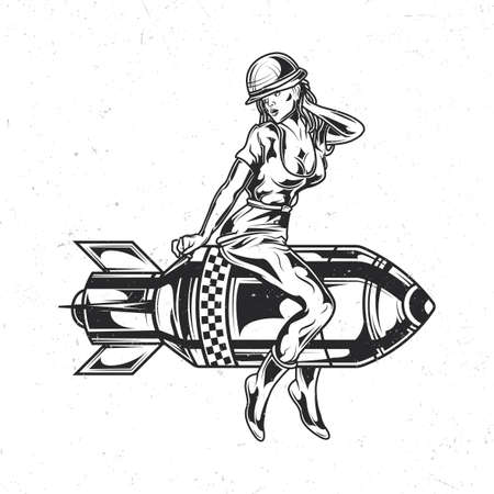 Illustration pour Isolated emblem with illustration of girl sitting on the bomb - image libre de droit