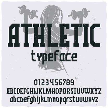 Illustration pour Vintage label typeface named Athletic. Good handcrafted font for any label design. - image libre de droit