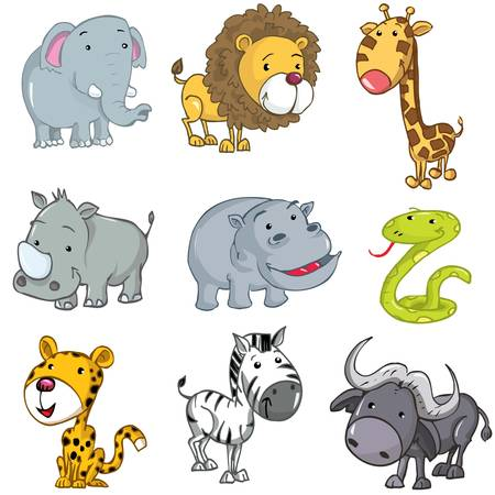 Set of cute cartoon animals. A rhino,lion,giraffe,elephant,hippo,snake,leopard,zebra and buffalo