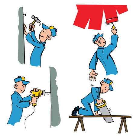 Cartoon set of workman doing different DIY chores including painting,drilling,woodwork etc