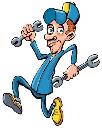 Cartoon mechanic running with his tools. He is holding two wrenches