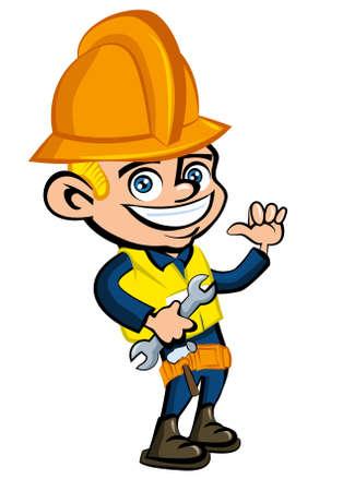 Cartoon cartoon of a worker witha hard hat. He is waving