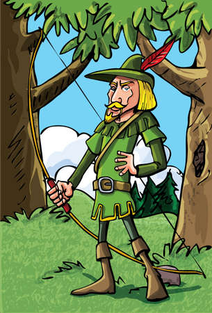 Cartoon Robin Hood in the woods.He has a bow and quiver full of arrows