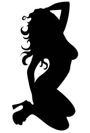 sillhoette of sexy woman isolated on white