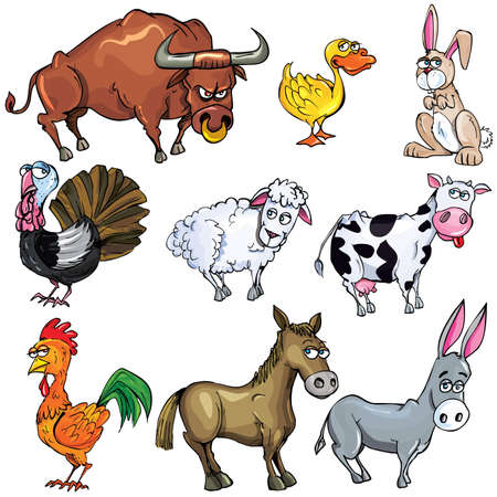 Cartoon set of farm animals isolated on white