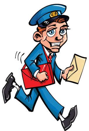 Illustration pour Cartoon mailman delivering mail. Isolated on white - image libre de droit