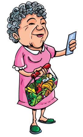 Cartoon of old lady shopping with her shopping list. Isolated on white