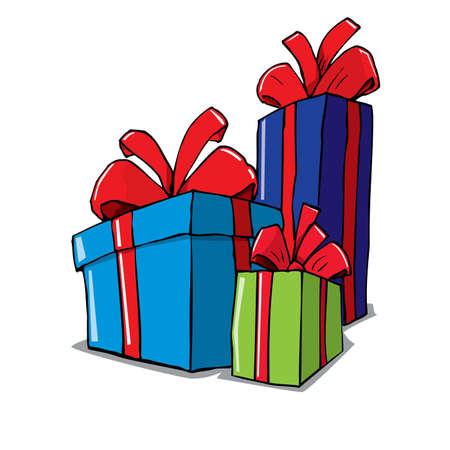 Cartoon of group of christmas gifts. Isolated on white