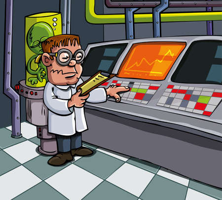 Cartoon scientist in his laboratory. Computers and lab equipment behind