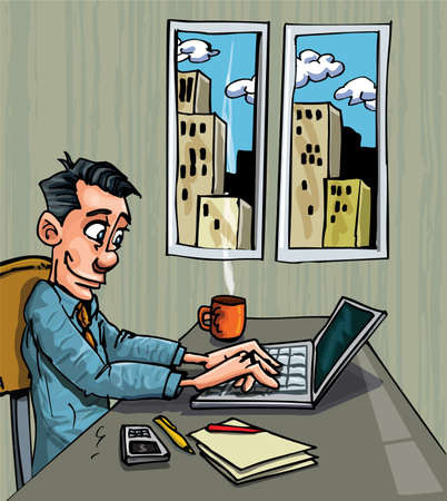 Cartoon office worker busy on his laptop at his desk