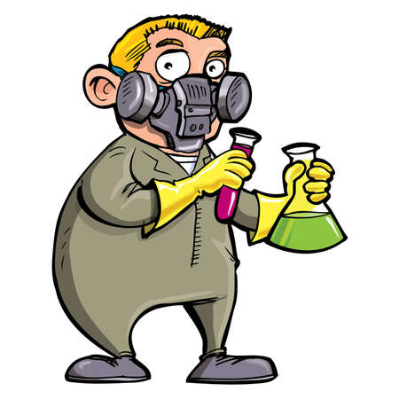 Cartoon Scientist experimenting with chemicals. Isolated on white