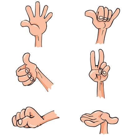 Set of Cartoon hands in everyday poses. Isolated on whiteのイラスト素材