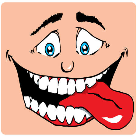 Cartoon Face of man with a big mouth. His tongue sticks out. He is hungry