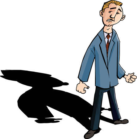Cartoon of worried man with a shadow behind him. Isolated