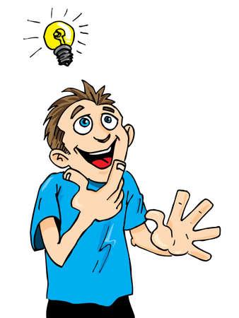 Ilustración de Cartoon man gets a bright idea. A light bulb above his head - Imagen libre de derechos