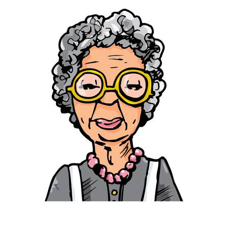 Cartoon of an old lady with glasses. Isolated on white