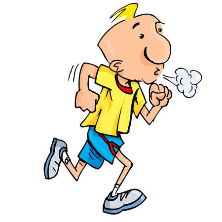 Cartoon of a jogging man puffing exertion. Isolated on white