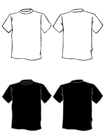 T shirt template in black and white. Isolated