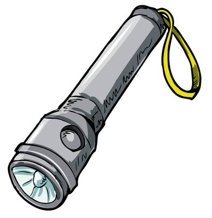 Illustration of a flashlight. Isolated on white