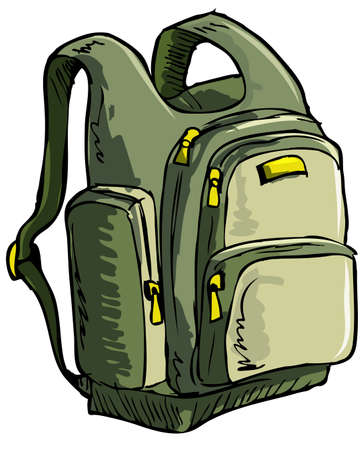 Illustration pour Illustration of a backpack. Isolated one white - image libre de droit