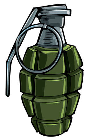 Cartoon drawing of a hand grenade. Isolated