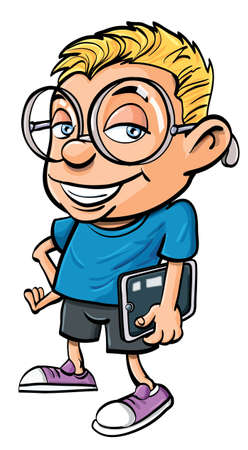 Cartoon nerd with glasses holding a tablet computer. Isolated