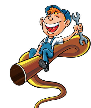 Cartoon plumber riding on a bucking pipe   He is holding a wrench an has a big smile