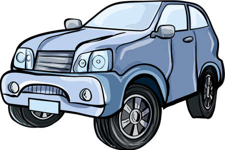 Cartoon illustration of a 4x4 sport utility vehicle Isolated