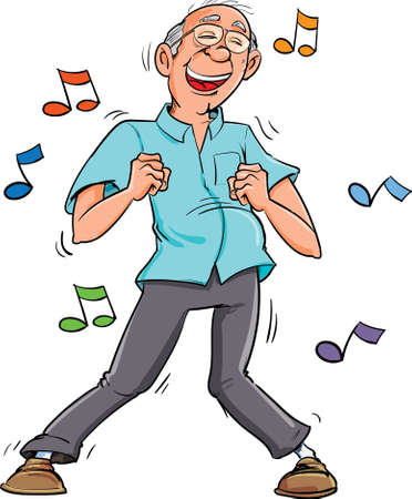 Illustration pour Cartoon old man dancing to music. His having fun - image libre de droit
