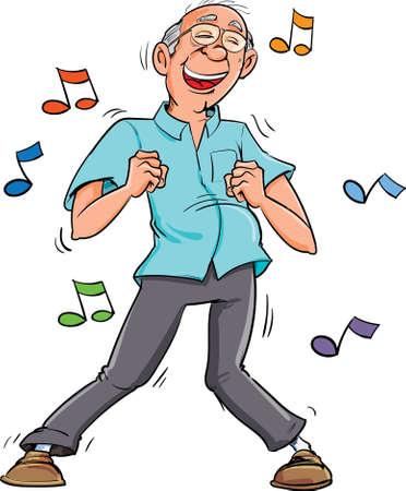 Ilustración de Cartoon old man dancing to music. His having fun - Imagen libre de derechos