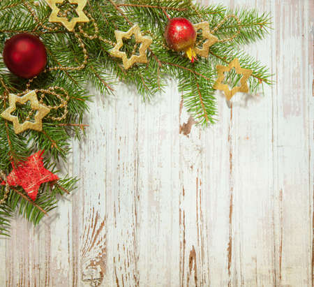Christmas  decoration on old wooden board