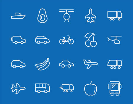 Illustration pour Set of public transport related vector line icons. Contains icons such as bus, bike, suitcase, car, scooter, truck, transport, trolley bus, sailboat, motor boat, plane and much more. Editable stroke - image libre de droit