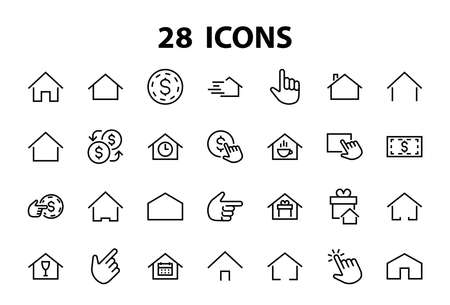 Illustration pour Simple set of color editable house icon templates. Contains such icons, home calendar, coffee shop and other vector signs isolated on a white background for graphic and web design. - image libre de droit
