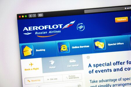 Photo for Washington, USA - April 03, 2019: Aeroflot website homepage. Close up of Aeroflot logo. Can be used as well as - Royalty Free Image