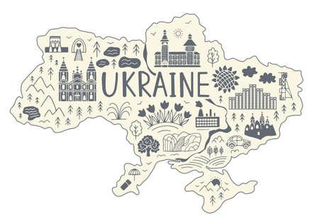 Map of Ukraine. Doodle style Vector illustration.