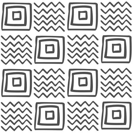 Vector Seamless Black And White Geometric Pattern Of Hand Drawn Squares And Zigzags Black Pattern On A White Background For Decor Textile Fabric Carpet Wallpaper Ceramic Tiles Wrapping Paper Royalty Free Vector Graphics