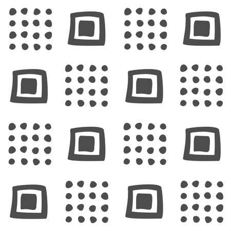 vector seamless black and white geometric pattern of hand-drawn squares and dots in a checkerboard pattern. For decor, textile, fabric, carpet, wallpaper, ceramic tiles, wrapping.