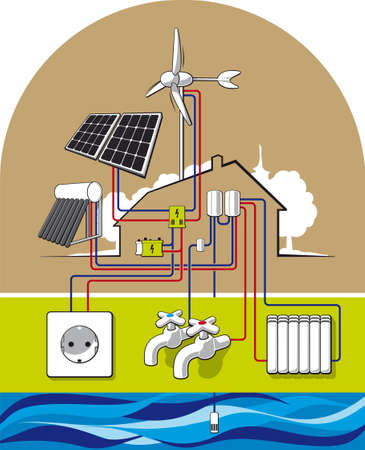 Illustration of energy-independent housing