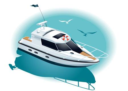 Illustration of a white yacht at sea
