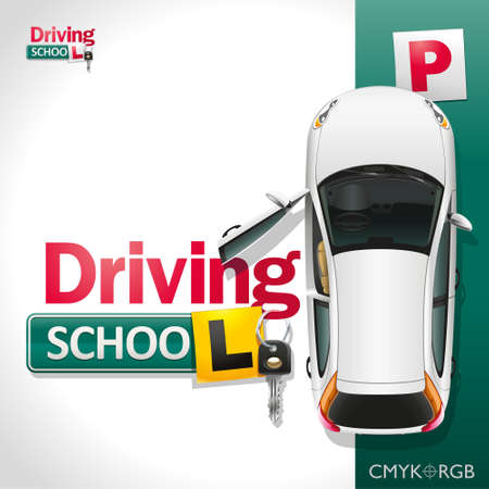 The white car on the green parking invites to be trained in driving school