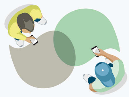 Illustration for Two modern guys chat. Top view on a white background. - Royalty Free Image