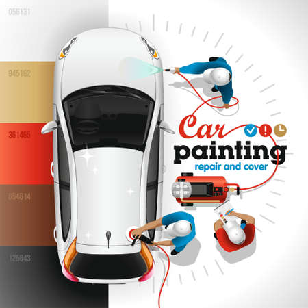 Ilustración de Painting, varnishing and polishing of body of the light car at the station of painting and service by skilled workers - Imagen libre de derechos