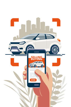 Illustration pour Buying and selling transport online via the internet using a mobile app. Take a photo and put an announcement on the site. - image libre de droit