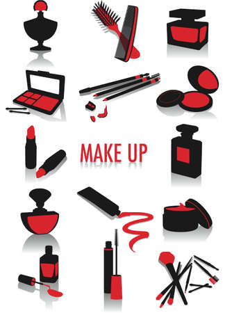Two-tone vector silhouettes of make-up accessories, part of a collection of fashion and lifestyle objects