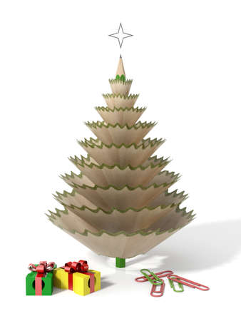 Christmas tree made with a pencil and its wooden shavings with paperclips and sharpeners in a white isolated background