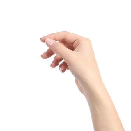 Woman hand holding some like a blank card isolated
