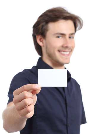 Young handsome businessman holding a blank card on a white background